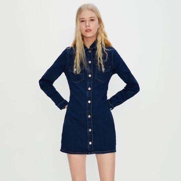 Zara Dresses & Skirts - NWOT Zara Trafaluc Denim Long sleeve mini dress